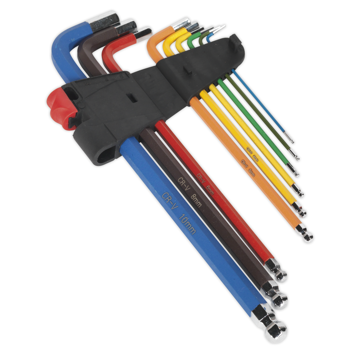 Ball-End Hex Key Set 9pc Colour-Coded Extra-Long Metric