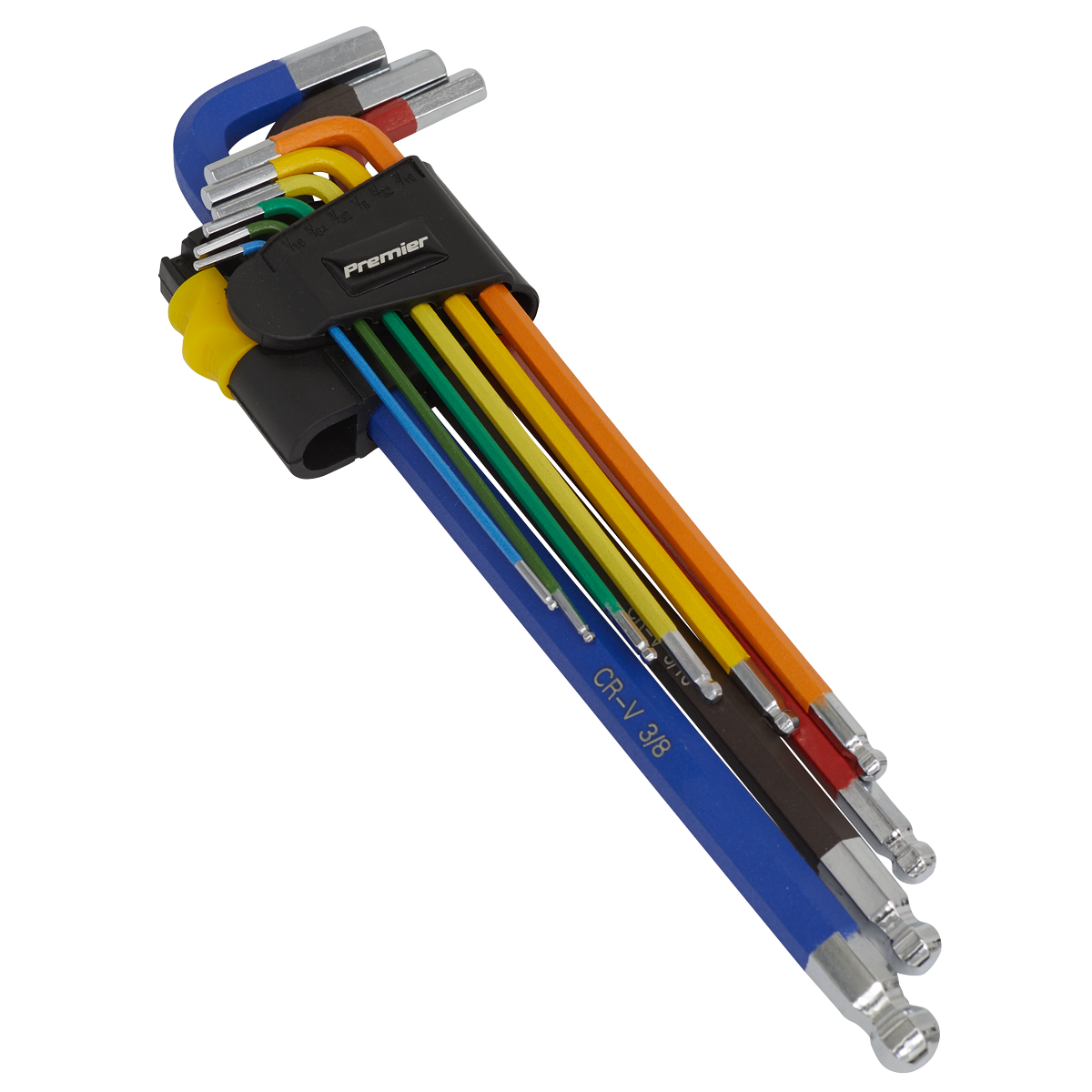 Ball-End Hex Key Set Extra-Long 9pc Colour-Coded Imperial