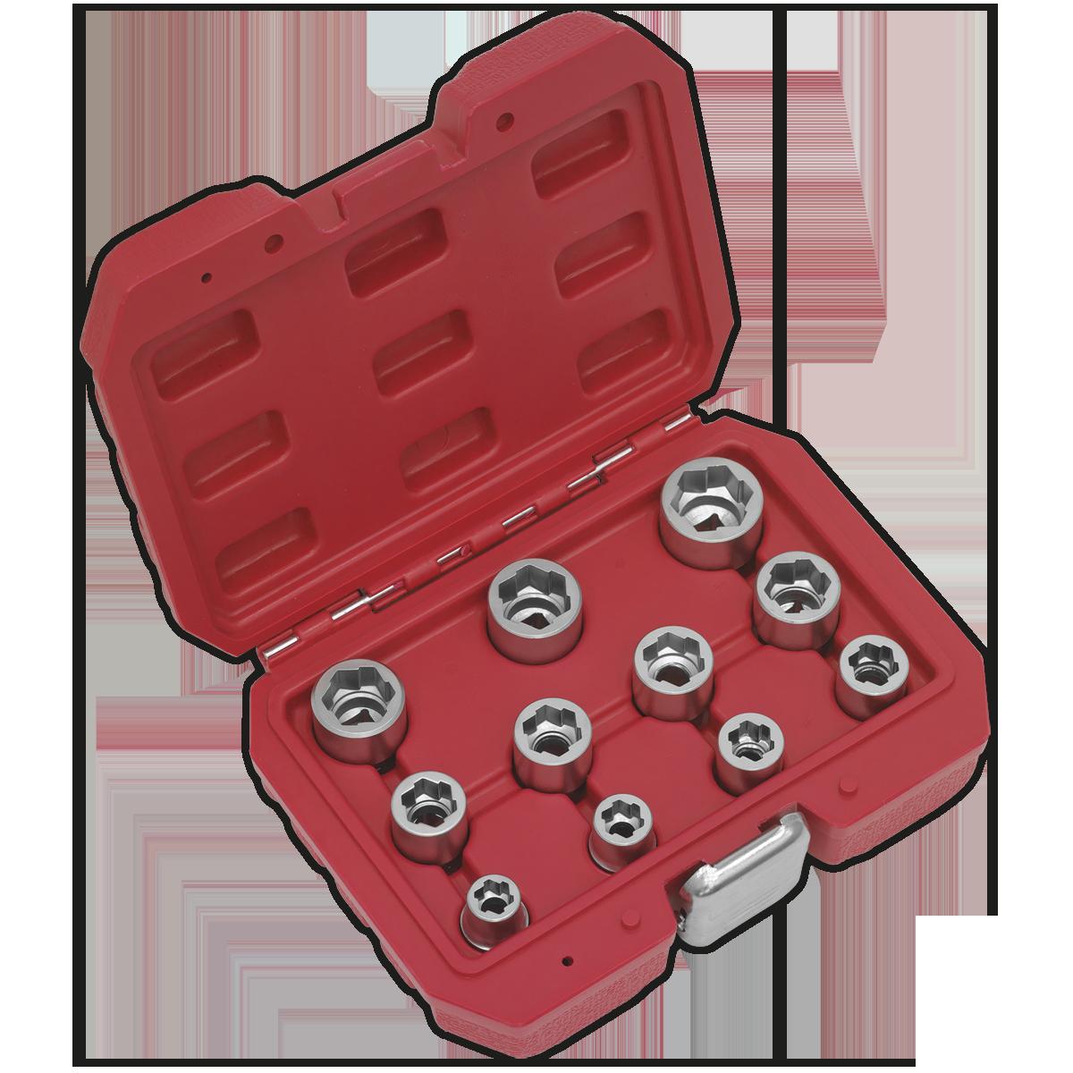 "Bolt Extractor Socket Set 11pc 3/8""Sq Drive Metric"