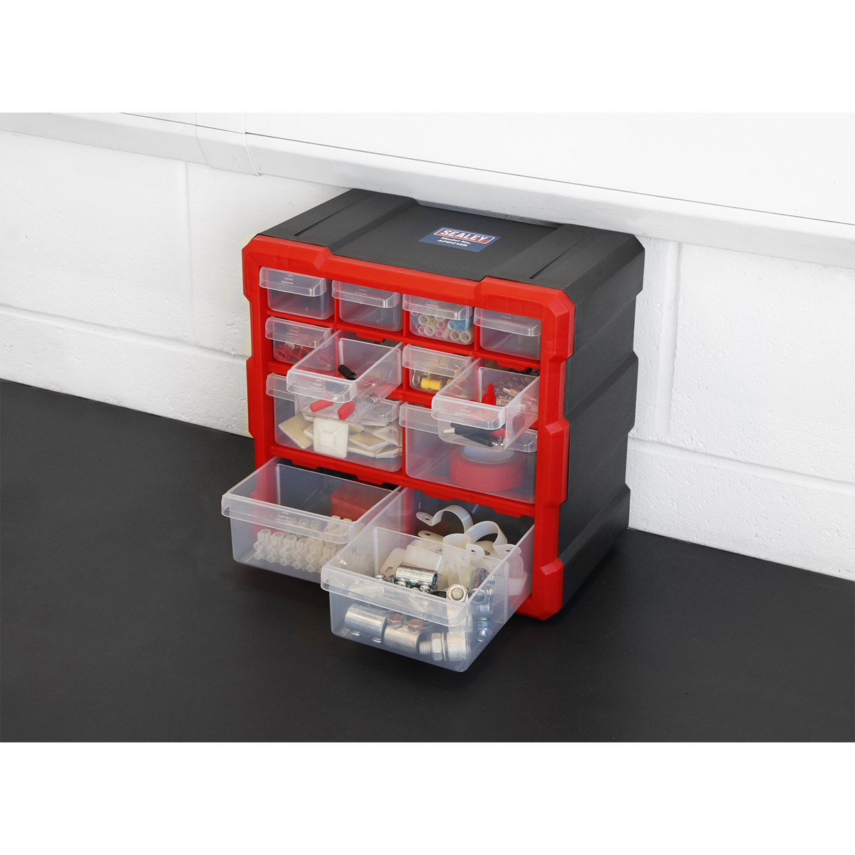 Cabinet Box 12 Drawer - Red/Black