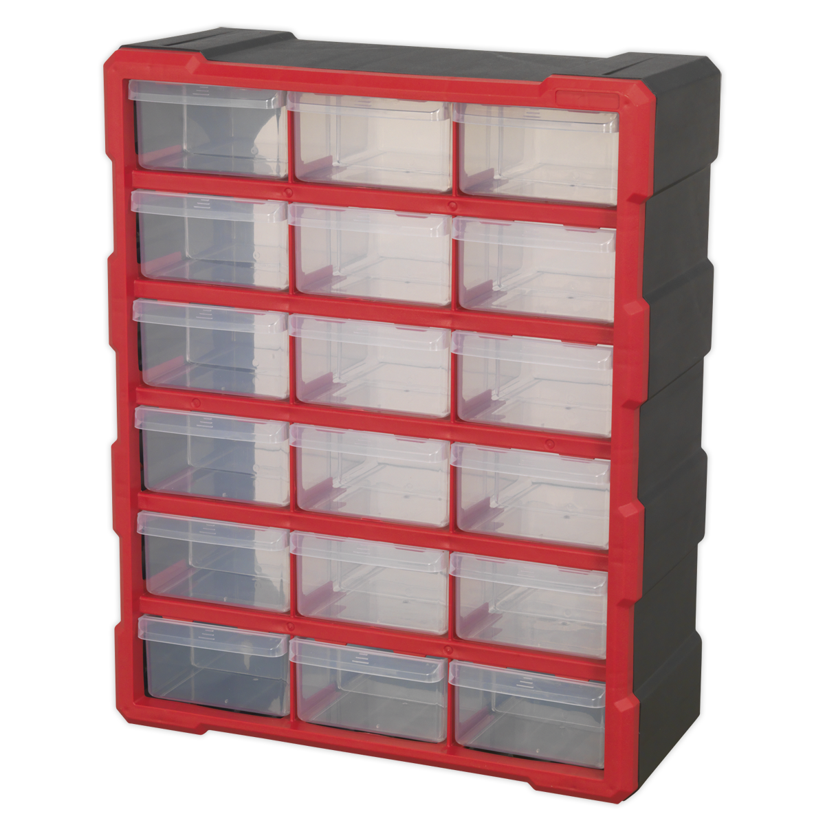 Cabinet Box 18 Drawer - Red/Black