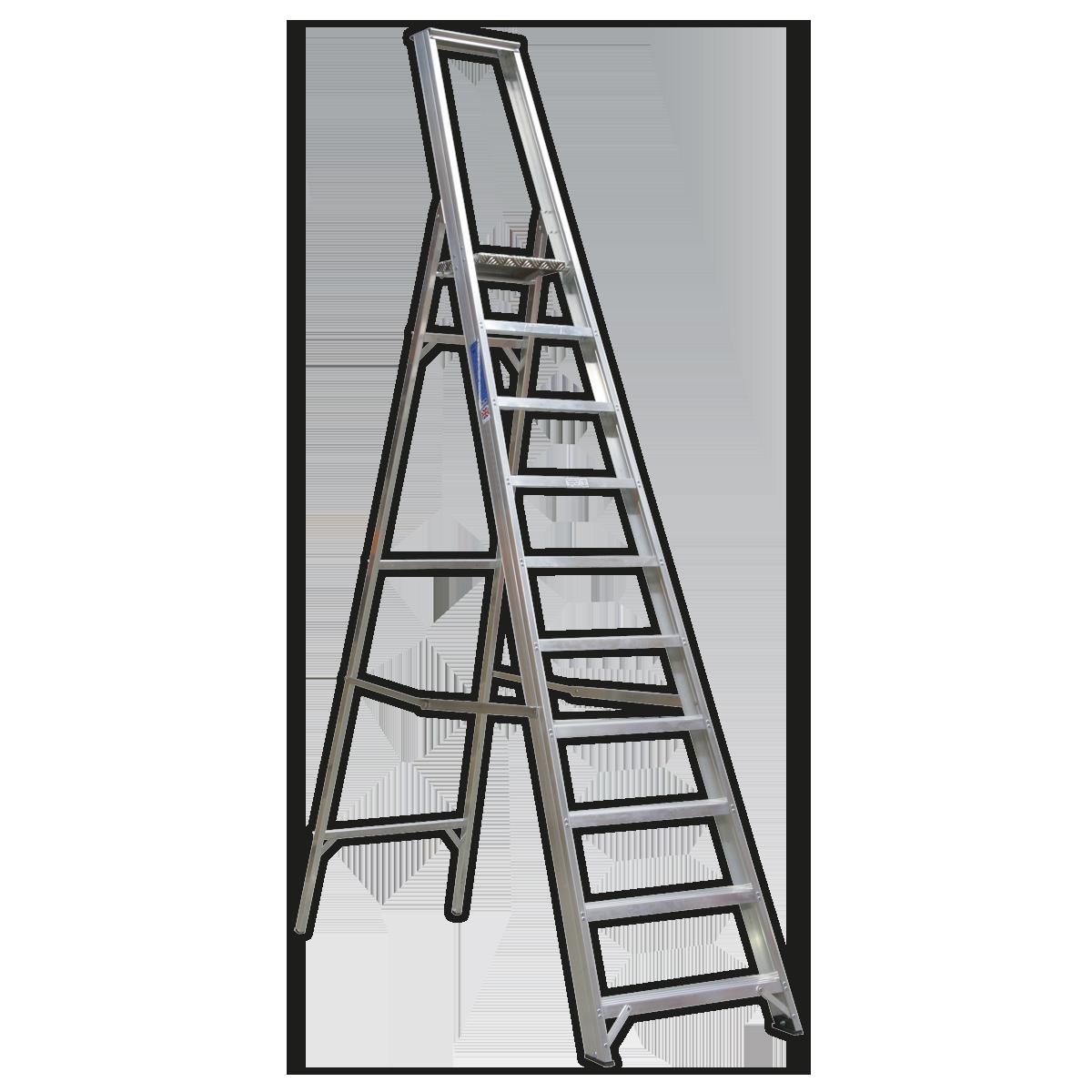 Aluminium Step Ladder 10-Tread Industrial BS 2037/1