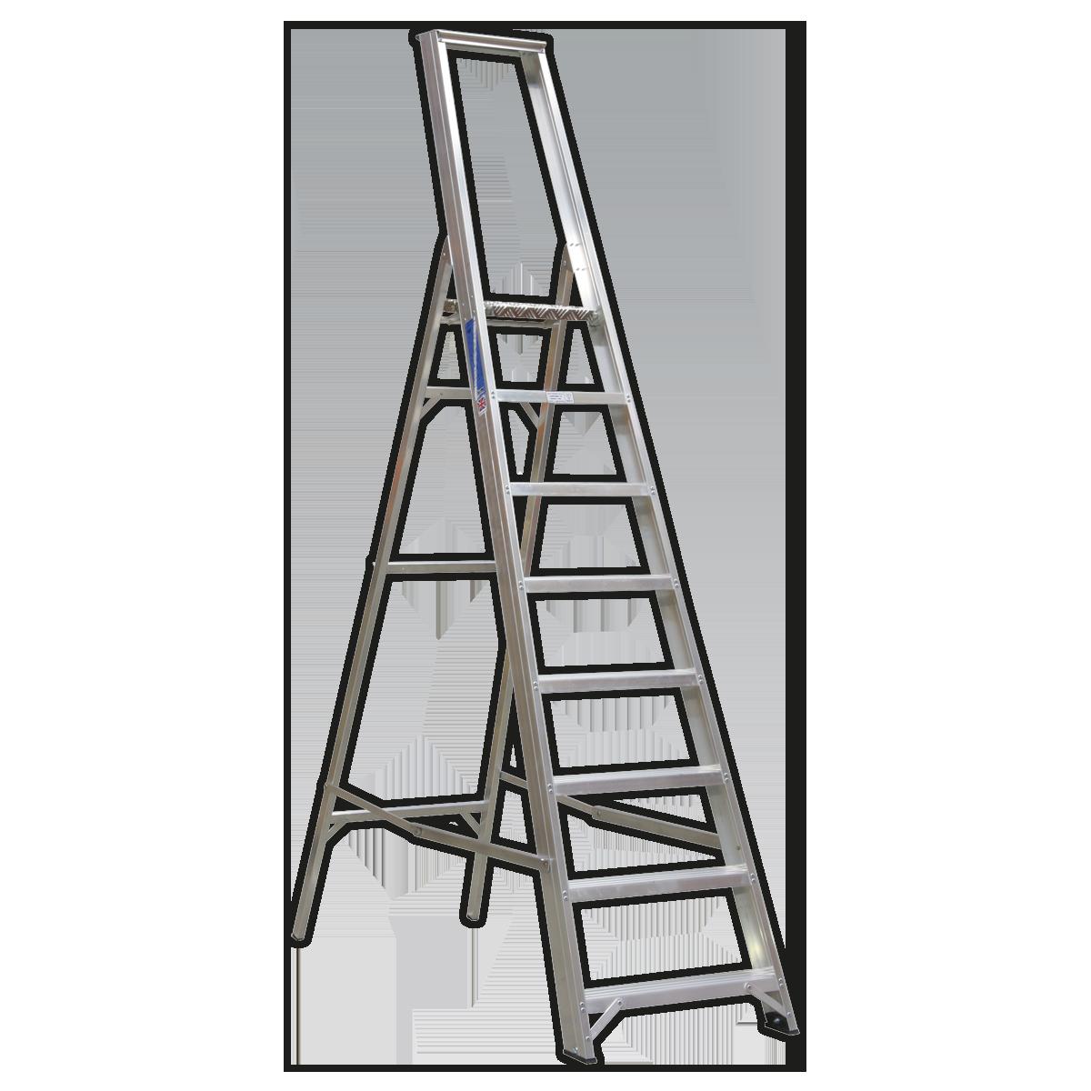 Aluminium Step Ladder 8-Tread Industrial BS 2037/1