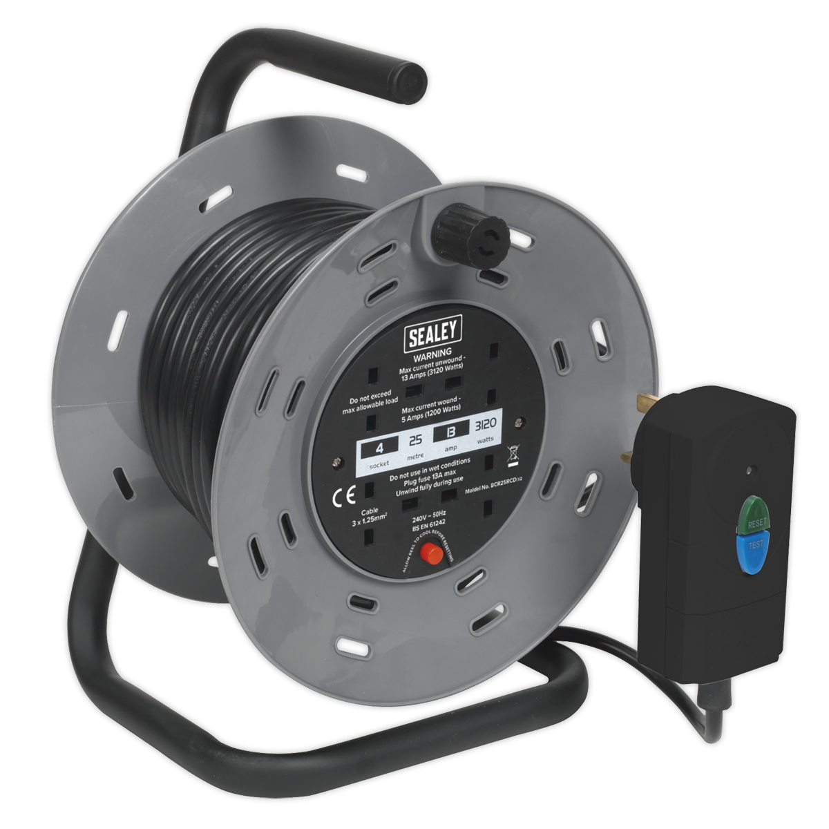 Cable Reel 25m 4 x 230V 1.25mm² Thermal Trip with RCD Plug