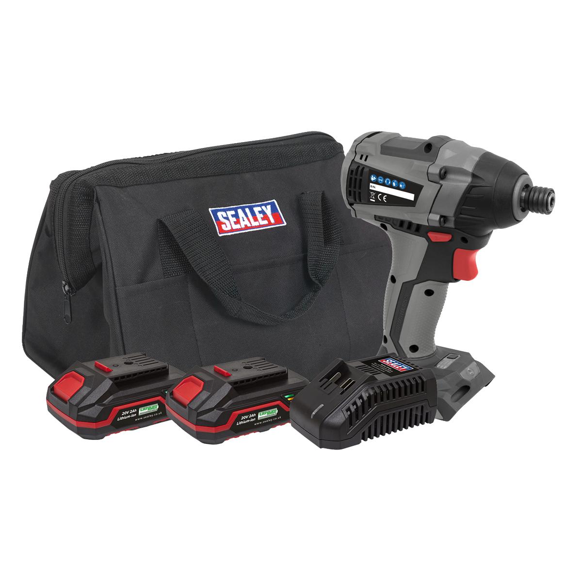 """Brushless Impact Driver Kit 1/4""""Hex 20V - 2 Batteries"""