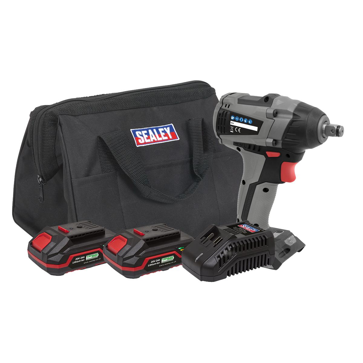 "Brushless Impact Wrench Kit 1/2""Sq Drive 20V 300Nm - 2 Batteries"