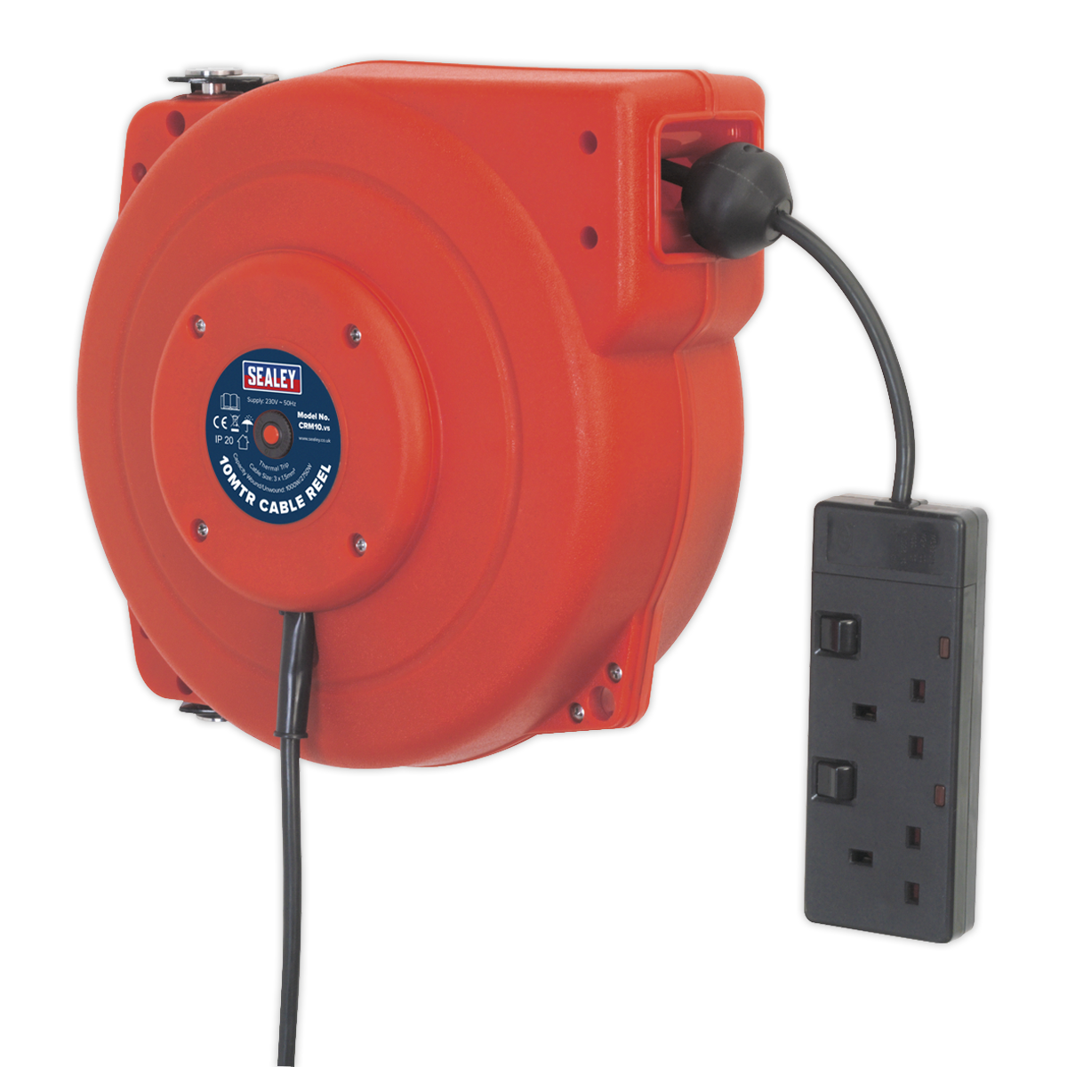 Cable Reel System Retractable 10m 2 x 230V Socket