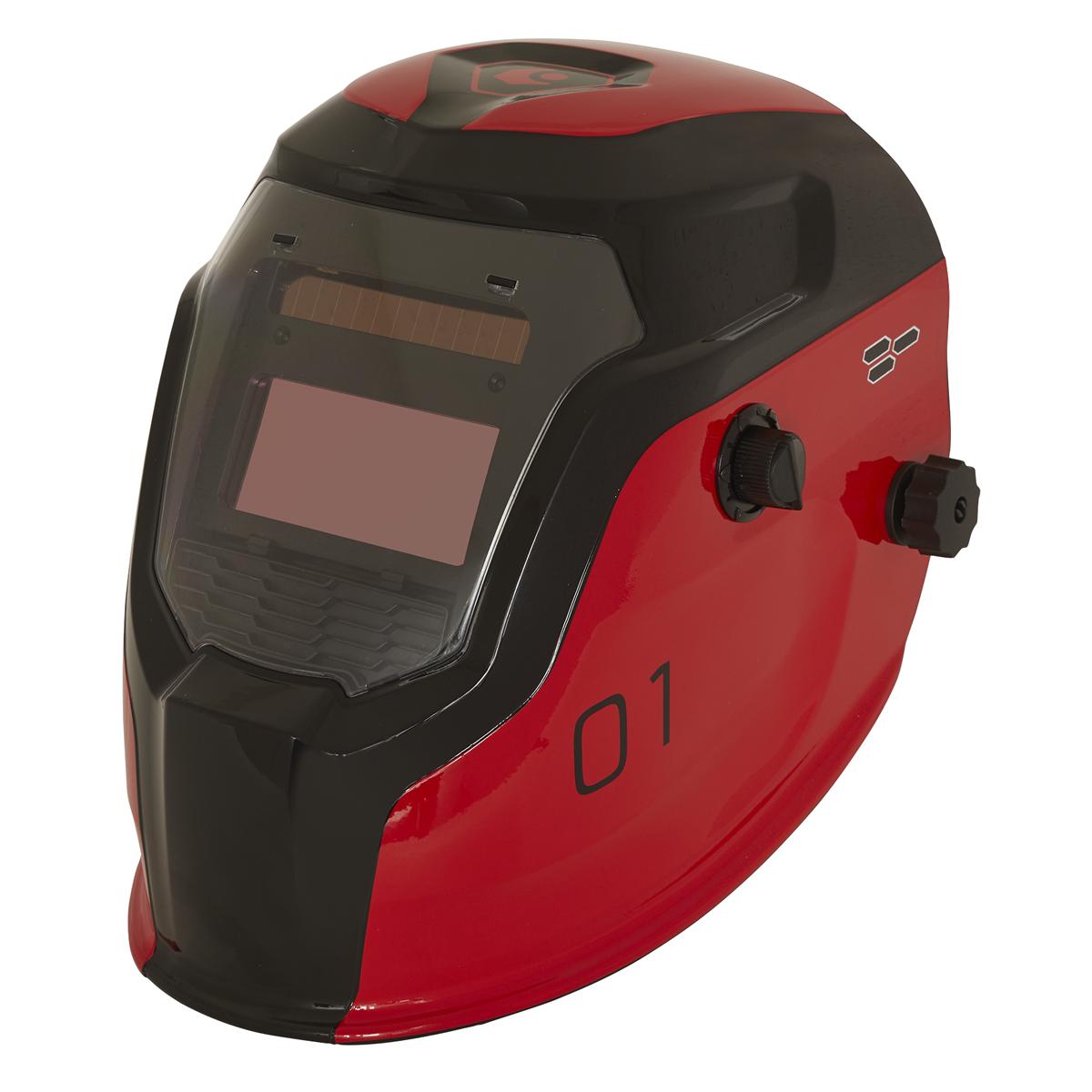 Auto Darkening Welding Helmet Shade 9-13 - Red