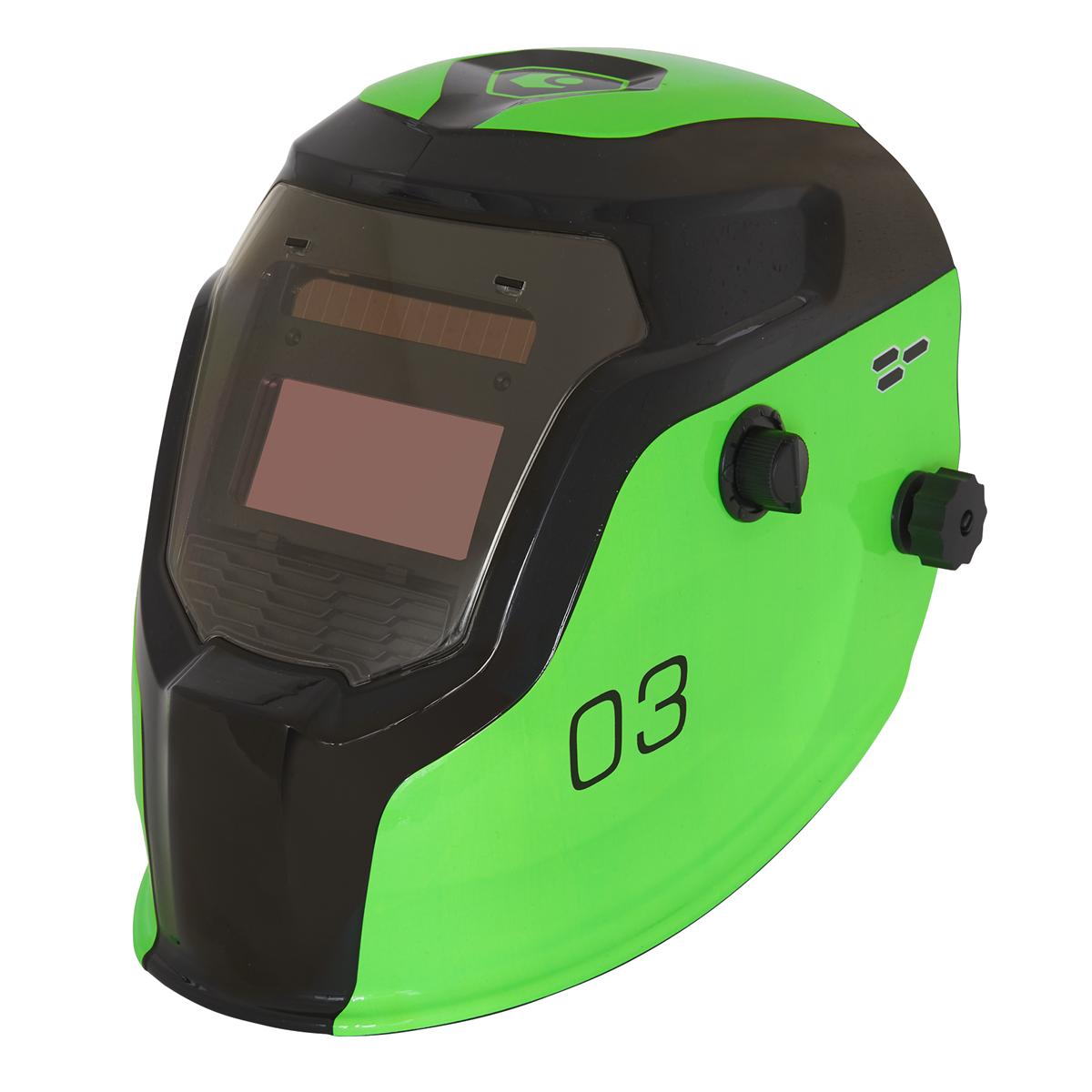 Auto Darkening Welding Helmet Shade 9-13 - Green