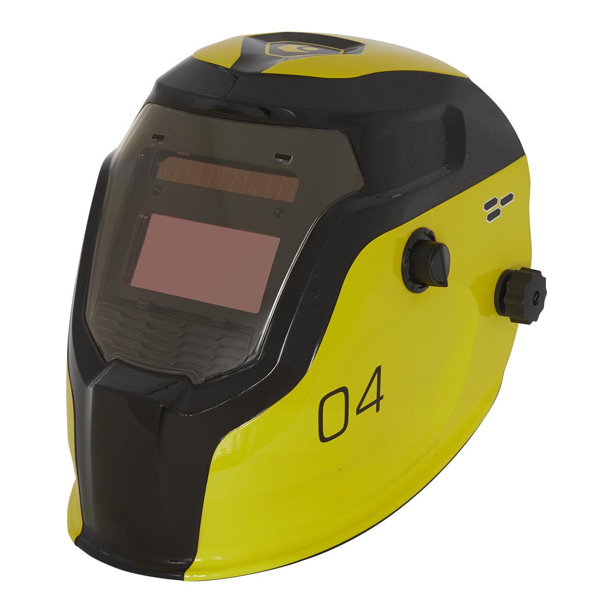 Auto Darkening Welding Helmet Shade 9-13 - Yellow