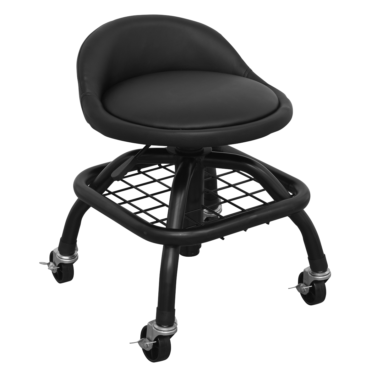 Creeper Stool Pneumatic with Adjustable Height Swivel Seat & Back Rest