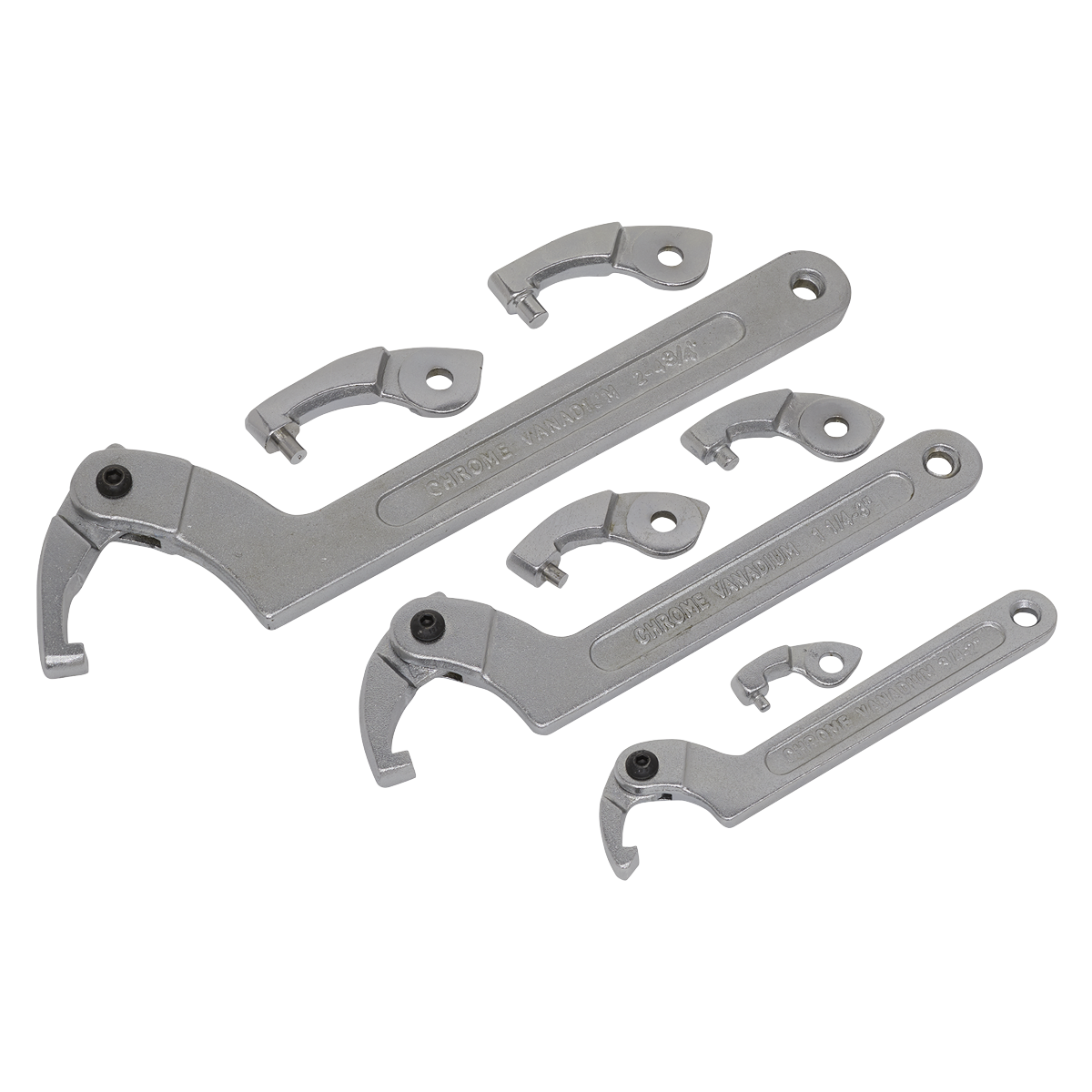 Adjustable C Spanner - Hook & Pin Wrench Set 11pc